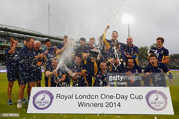 The Durham team celebrate with the trophy after they won the Royal London OneDay Cup Final between Warwickshire and Durham at Lord's Cricket Ground...