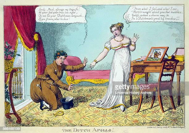 The Dutch Apollo' Cartoon showing the Prince of Orange dressed like a Dutchman in caricature kneeling with arms extended imploring at the feet of...