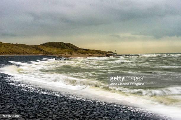 The dutch coast during a storm