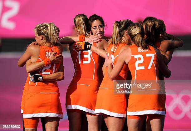 The Dutch team enjoy their victory after the Womens Hockey semi final between the Netherlands and New Zealand as part of the 2012 London Olympic...
