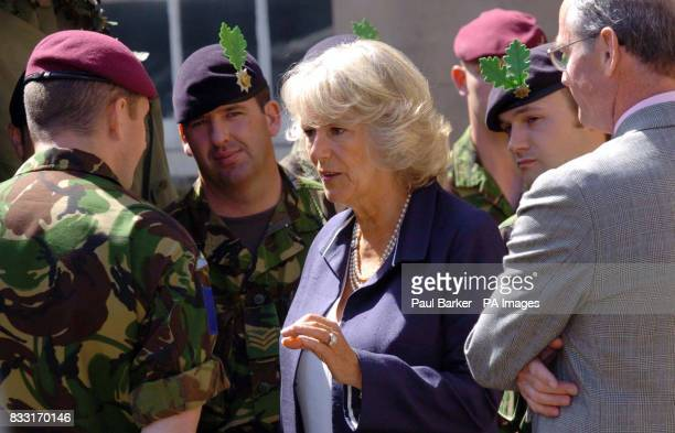 The Dutchess of Cornwall meets soldiers from the 22nd Cheshire Regiment on a visit to theCheshire Military Museum in Chester today