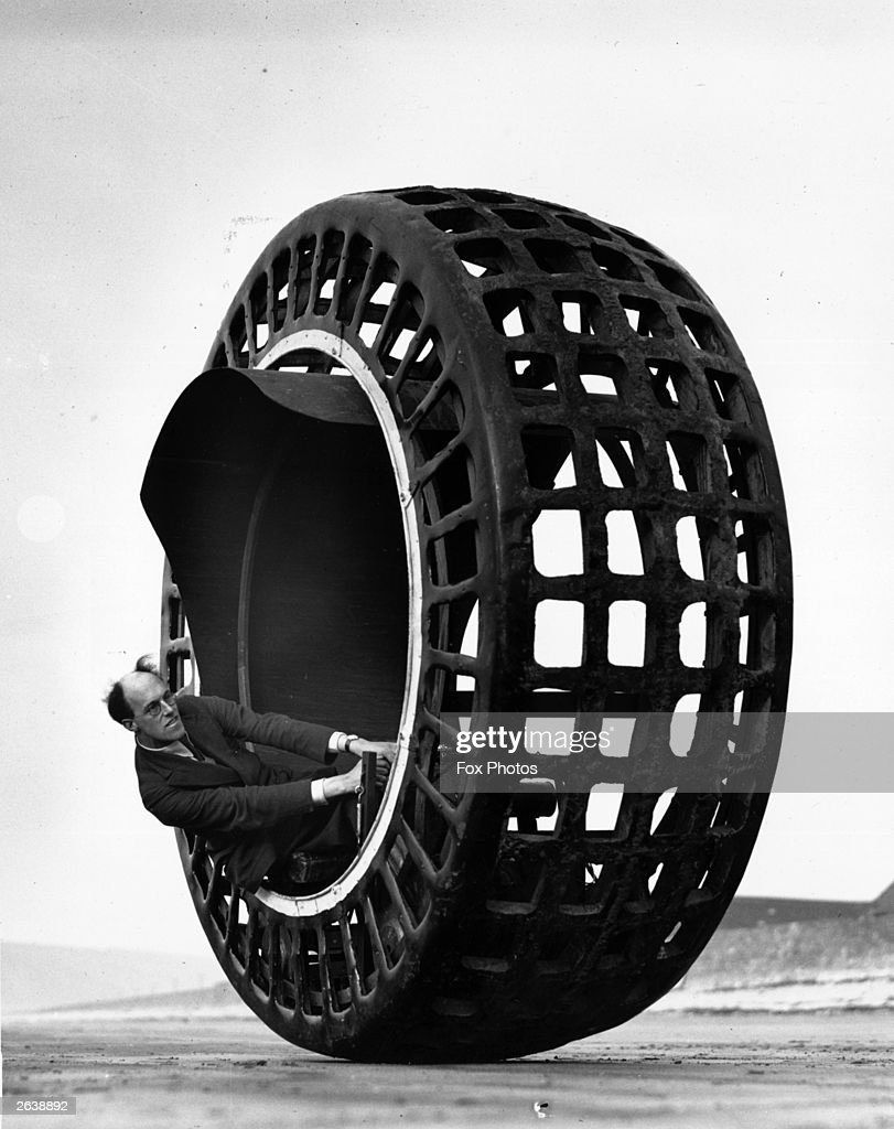The Dynasphere an electricallydriven wheel capable of speeds of 30mph being tested on the beach at Weston Super Mare by Mr J A Purves of Taunton who...