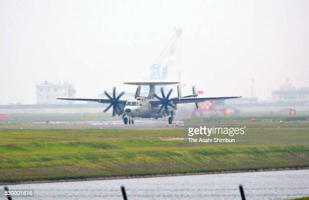 The E2D earlywarning aircraft lands at the US Marine Corps Air Station Iwakuni on August 9 2017 in Iwakuni Yamaguchi Japan The US military started a...