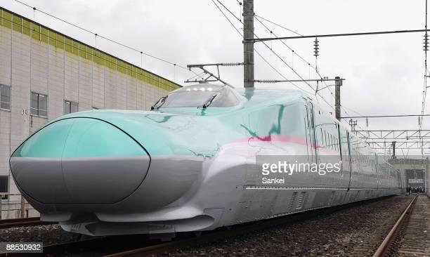 The E5 Series Shinkansen bullet train is seen during the press viewing at East Japan Railways Co Shinkansen Center on June 17 2009 in Rifu Miyagi...