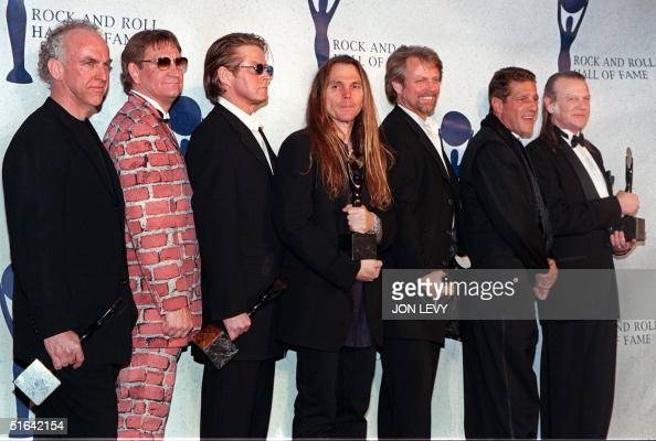 The Eagles Bernie Leadon Joe Walsh Don Henley Timothy Schmit Don Felder and Randy Meisner appear together after receiving their awards and being...