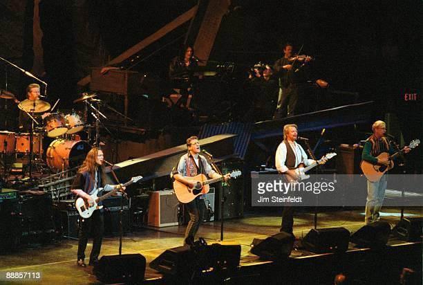 The Eagles Don HenleyDrums Timothy B SchmitBass Glen FreyGuitar Don FelderGuitar and Joe WalshGuitar perform at the Target Center In Minneapolis...