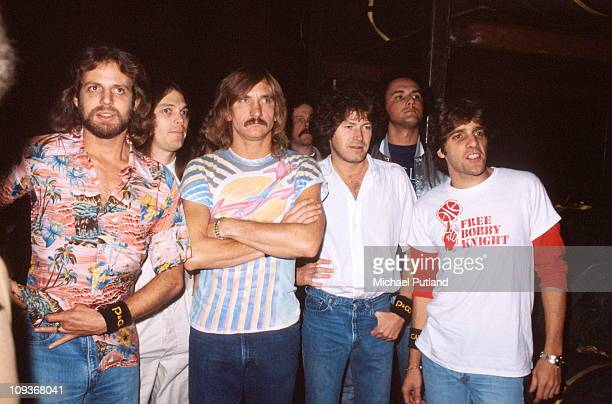 The Eagles group portrait backstage New York October 1979 LR Don FelderTimothy B SchmitJoe WalshDon HenleyGlenn Frey