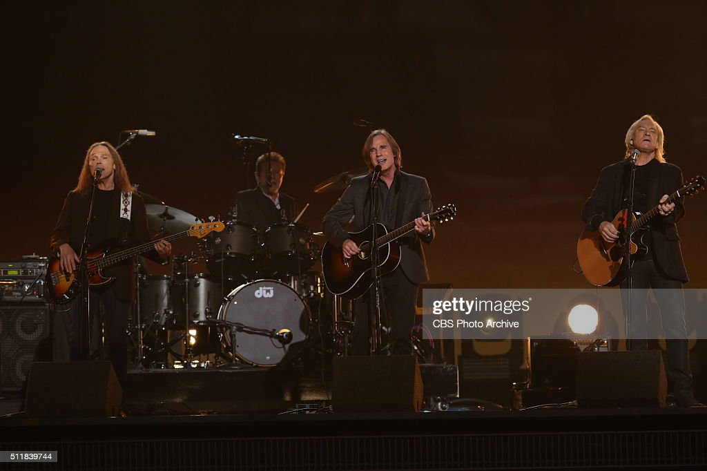 <a gi-track='captionPersonalityLinkClicked' href=/galleries/search?phrase=The+Eagles&family=editorial&specificpeople=564232 ng-click='$event.stopPropagation()'>The Eagles</a> perform during the Glenn Frey tribute during THE 58TH ANNUAL GRAMMY AWARDS, Monday, Feb. 15, 2016 (8:00-11:30 PM, live ET) at STAPLES Center in Los Angeles and broadcast on the CBS Television Network.