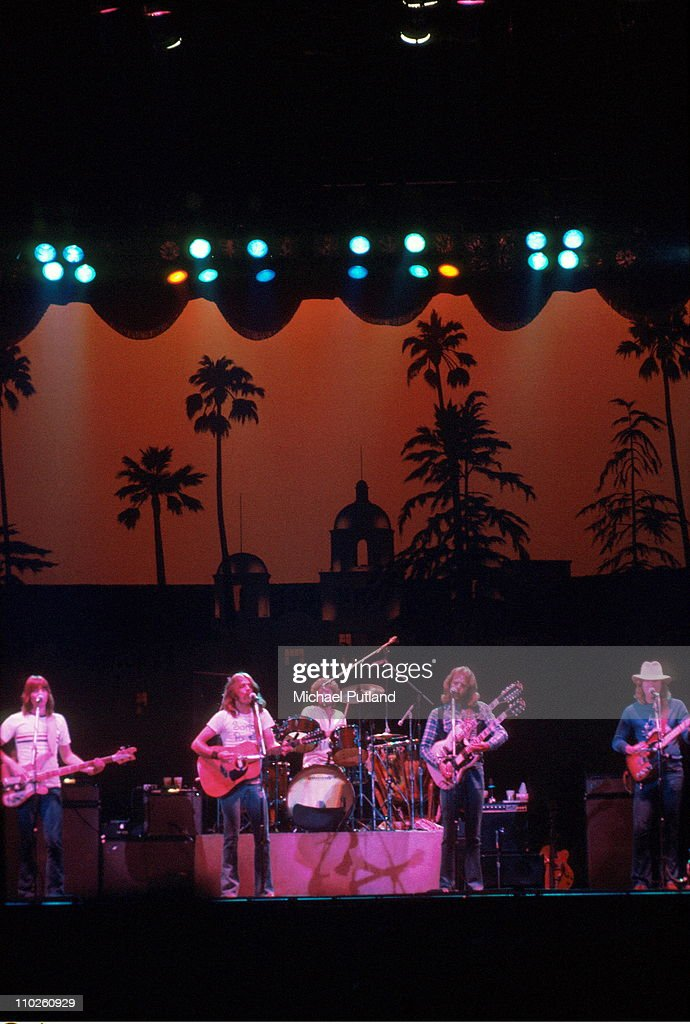 The Eagles perform on stage UK, 1977, L-R <a gi-track='captionPersonalityLinkClicked' href=/galleries/search?phrase=Randy+Meisner&family=editorial&specificpeople=640662 ng-click='$event.stopPropagation()'>Randy Meisner</a>, <a gi-track='captionPersonalityLinkClicked' href=/galleries/search?phrase=Glenn+Frey&family=editorial&specificpeople=223995 ng-click='$event.stopPropagation()'>Glenn Frey</a>, <a gi-track='captionPersonalityLinkClicked' href=/galleries/search?phrase=Don+Henley&family=editorial&specificpeople=216382 ng-click='$event.stopPropagation()'>Don Henley</a>, <a gi-track='captionPersonalityLinkClicked' href=/galleries/search?phrase=Don+Felder&family=editorial&specificpeople=640659 ng-click='$event.stopPropagation()'>Don Felder</a>, <a gi-track='captionPersonalityLinkClicked' href=/galleries/search?phrase=Joe+Walsh+-+Singer&family=editorial&specificpeople=223888 ng-click='$event.stopPropagation()'>Joe Walsh</a>.