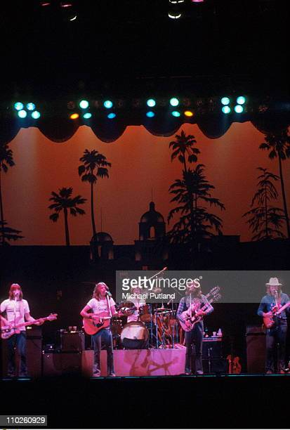 The Eagles perform on stage UK LR Randy Meisner Glenn Frey Don Henley Don Felder Joe Walsh