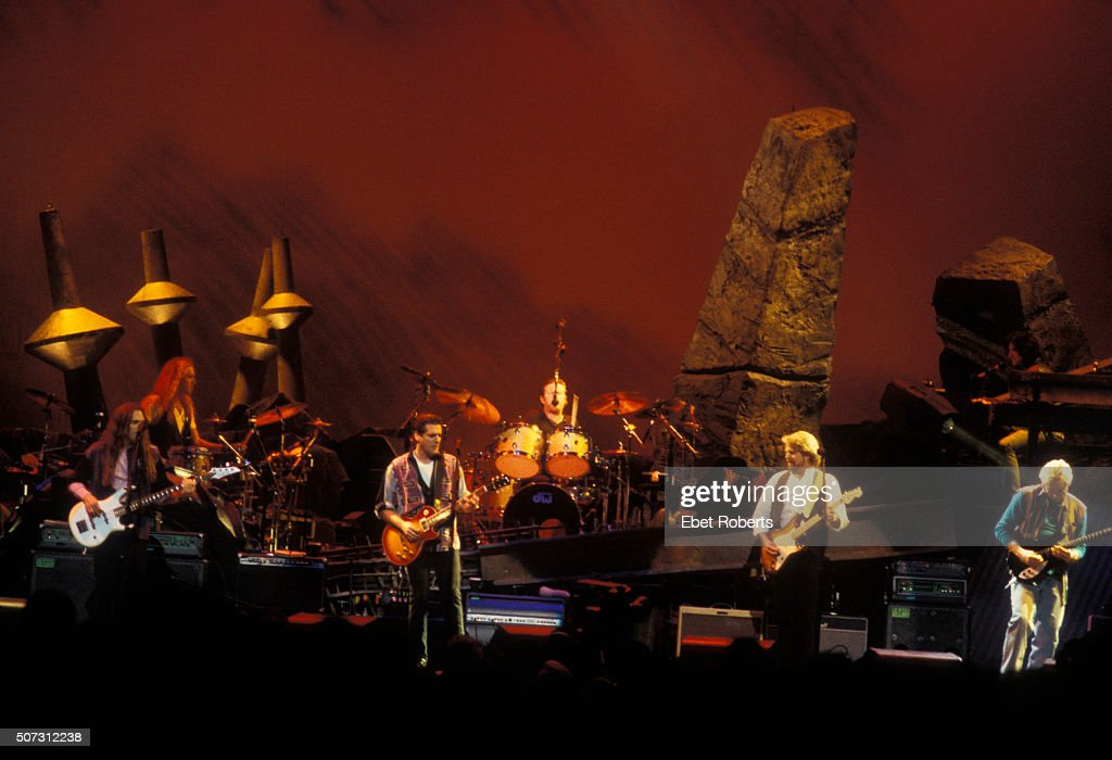 The Eagles performing at the Target Center in Minneapolis February 21 1995 Pictured L to R Timothy B Schmitt Glenn Frey Don Henley Don Felder and Joe...
