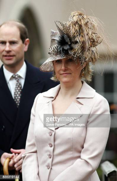 The Earl and Countess of Wessex after the Easter Mattins service at St George's Chapel in the grounds of Windsor Castle Berkshire
