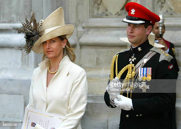 The Earl and Countess of Wessex Edward and Sophie leave Westminster Abbey after a Service and Thanksgiving to mark the 60th anniversary of the end of...