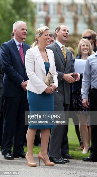 The Earl and Countess of Wessex launch a weather balloon during a visit to the University of Reading in Berkshire