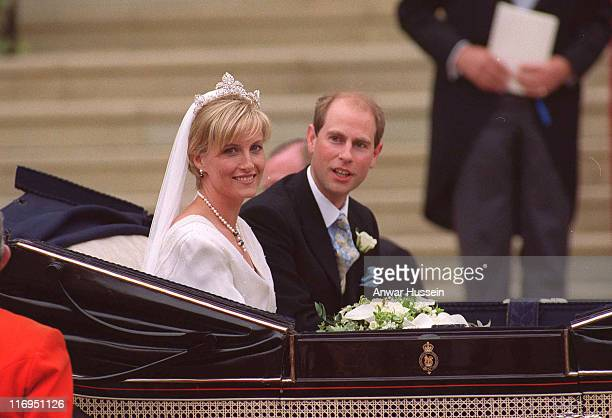 The Earl and Countess of Wessex on their wedding day on June 19 1999