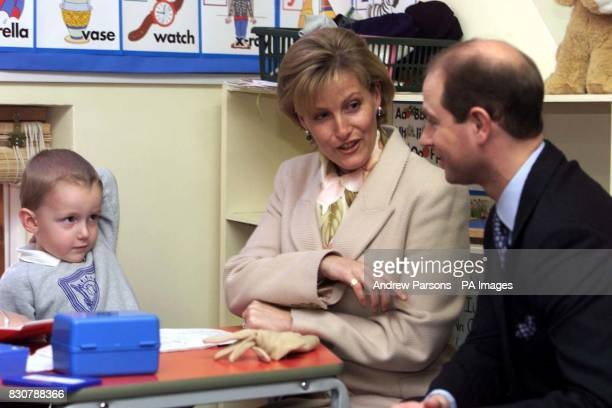 The Earl and Countess of Wessex sit down with Jack Shakespear four during their visit to the Phoenix Montessori Nursery School and Day Nursery in...