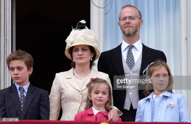 The Earl Of St Andrews With His Wife Sylvana And Their Children On The Balcony Of Buckingham Palace For Trooping The Colour