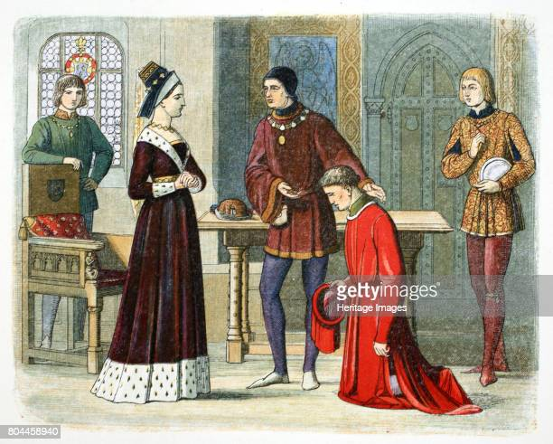 The Earl of Warwick submits to Queen Margaret 1470 Richard Neville Earl of Warwick submits to Margaret of Anjou Queen of Henry VI of England and...