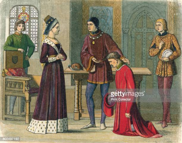 The Earl of Warwick submits to Queen Margaret' 1864 Richard Neville 16th Earl of Warwick submits to Queen Margaret and solicits a pardon on his knees...