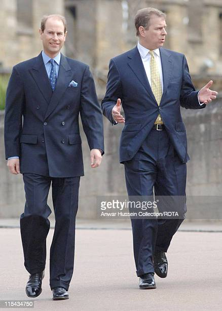 TRH The Earl of Wessex and the Duke of York Princes Edward and Andrew depart a church service at St George's Chapel Windsor Castle on Easter Sunday...