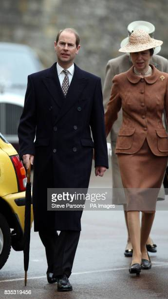 The Earl of Wessex and the Princess Royal before the Easter Mattins service at St George's Chapel in the grounds of Windsor Castle Berkshire