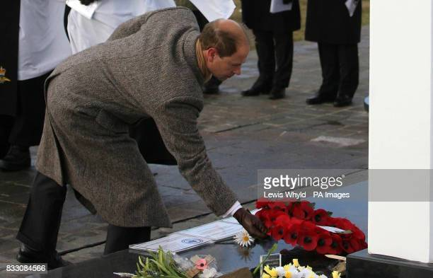 The Earl of Wessex lays a wreath for Argentinian men killed in the Falklands conflict at a memorial in the Argentinian Cemetery Darwin near Goose...