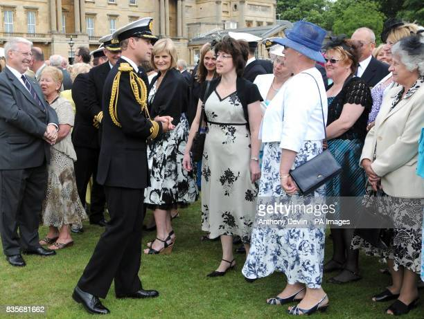 The Earl of Wessex meets guests during a Royal Garden Party at Buckingham Palace in central London to celebrate the centenary of Naval Aviation