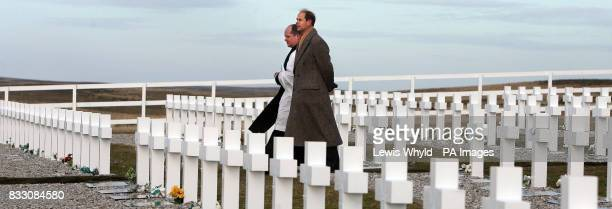 The Earl of Wessex visits a memorial in the Argentinian Cemetary Darwin near Goose Green on the Falkland Islands