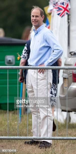 The Earl of Wessex watches Lady Louise Windsor compete in the British Driving Society championship for young riders during the Bentley Motors Royal...