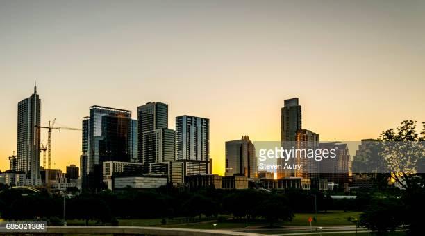 Austin, TX - May 6, 2017: The early morning skyline of Austin Texas as seen from Doug Sahm Hill.