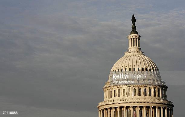 The early morning sun strikes the US Capitol November 6 2006 in Washington DC Midterm elections take place November 7 potentially changing the...