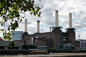 The early stages in the demolition and rebuilding of Battersea Power Station's chimneys takes place on August 19 2014 in London England As part of...