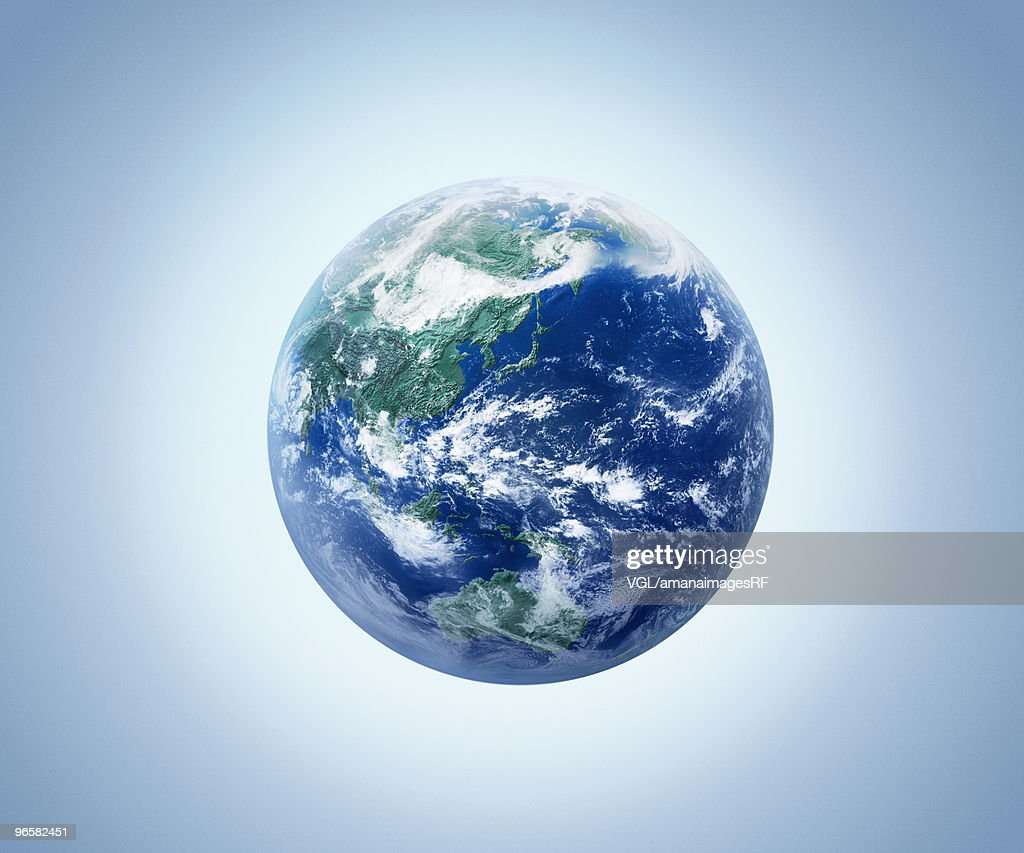 The earth, computer graphic, blue background