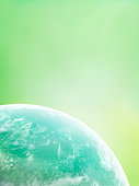The earth, computer graphic, green background, copy space