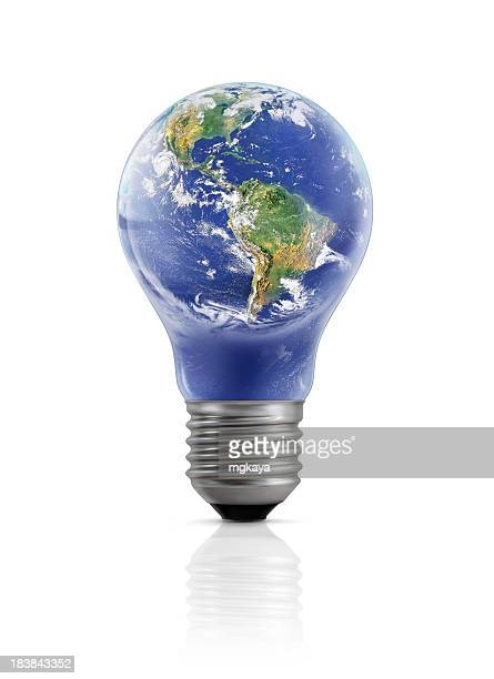 The Earth enclosed in a light bulb standing upright
