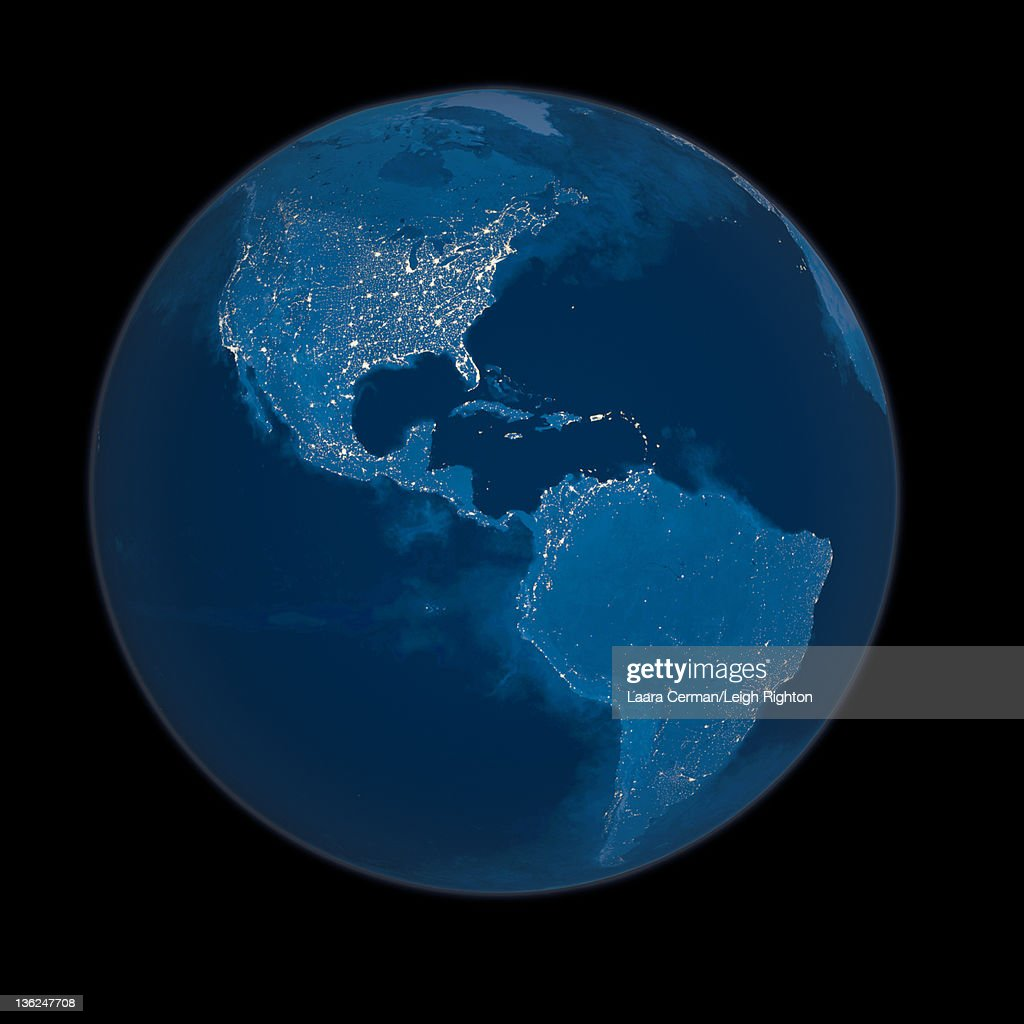The Earth from space at night. : Stock Photo