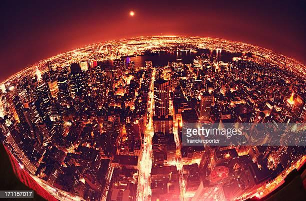 La terre Globe de Manhattan de New York City de nuit