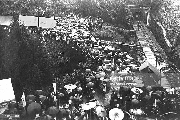 The earthquake survivors walk to cross the mountains to evacuate from Tokyo and Kanagawa where cities were heavily destroyed in September 1923 near...