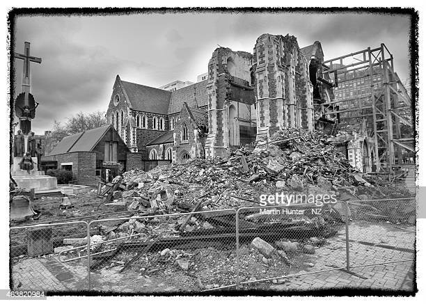 This image was processed using digital filters The earthquakedamanged Christchurch Cathedral is seen on August 12 2011 in Christchurch New Zealand...