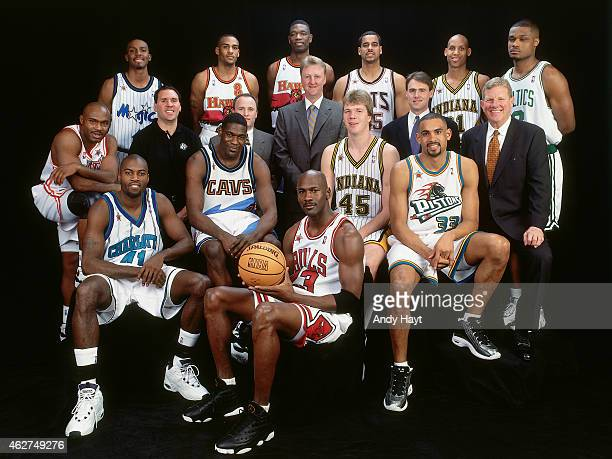 The East AllStars poses for a portrait prior to NBA AllStar Game on February 8 1998 at Madison Square Garden in New York City NOTE TO USER User...