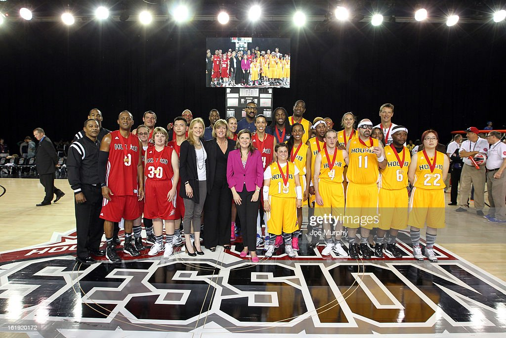 The East and West teams pose for a photo after the NBA Cares Special Olympics Unity Sports Basketball Game on Center Court during the 2013 NBA Jam Session on February 17, 2013 at the George R. Brown Convention Center in Houston, Texas.