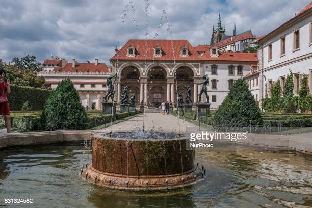 The east façade of the palace and portion of the Wallenstein Garden with Prague Castle in the background in Prague Czech republic on 14 August 2017...