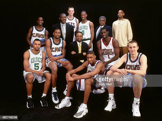 The East Roster poses for a portrait prior to the Rookie Challenge during NBA AllStar Weekend on February 6 1998 in New York City NOTE TO USER User...