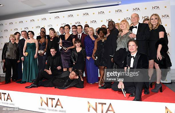The Eastenders cast winners of the Serial Drama award pose in the winners room at the National Television Awards at 02 Arena on January 21 2015 in...