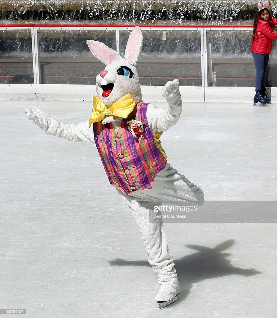 The Easter Bunny skates at The Rink at Rockefeller Center on Easter Sunday on April 20 2014 in New York City