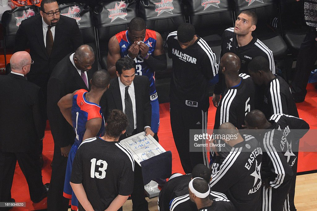 The Eastern Conference All-Stars huddle up during the 2013 NBA All-Star Game during All Star Weekend on February 17, 2013 at the Toyota Center in Houston, Texas.