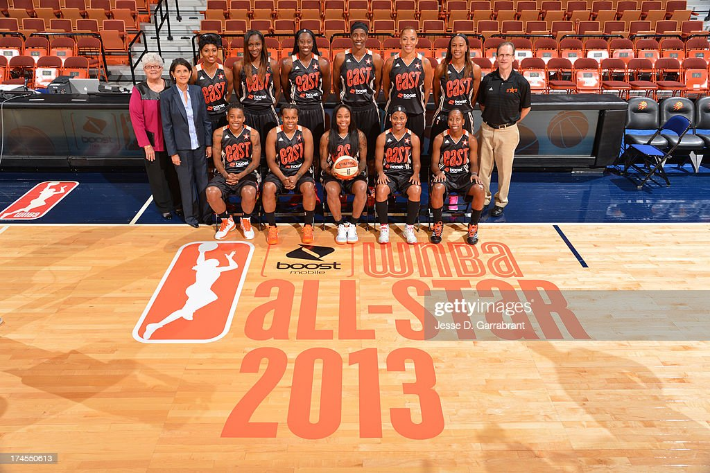 The Eastern Conference All-Stars pose for a photo before the 2013 Boost Mobile WNBA All-Star Game on July 27, 2013 at Mohegan Sun Arena in Uncasville, Connecticut.