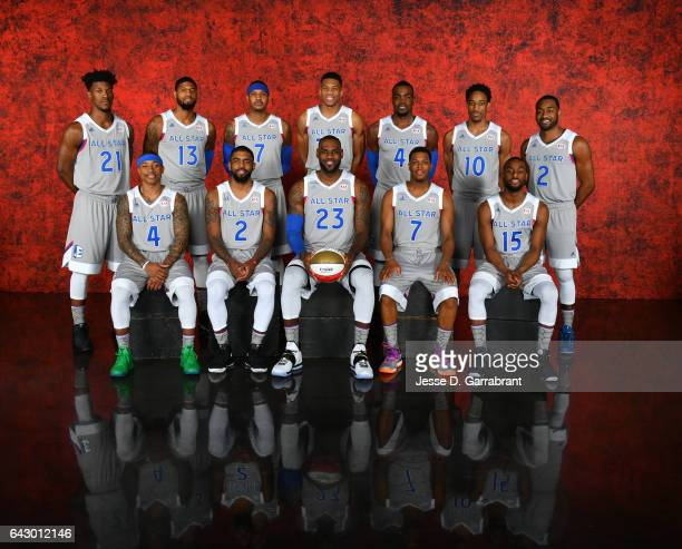 The Eastern Conference AllStars poses for a portrait during the NBA AllStar Game as part of 2017 AllStar Weekend at the Smoothie King Center on...
