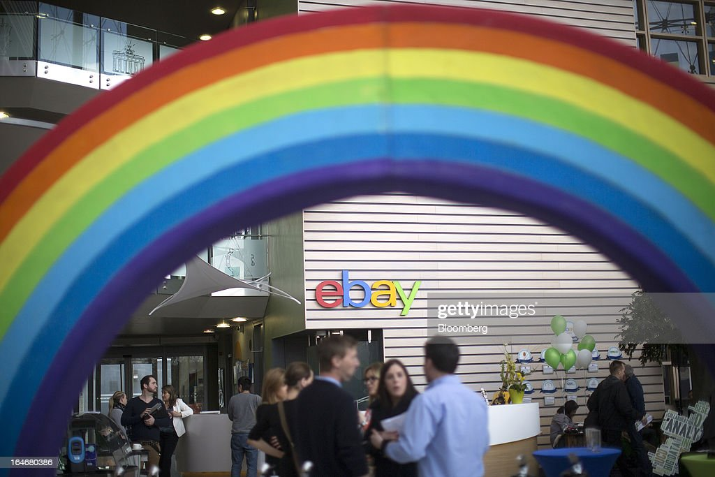 The EBay logo is seen on display in the entrance area of EBay Inc.'s European headquarters at Blanchardstown in Dublin, Ireland, on Friday, March 15, 2013. Ireland's renewed competiveness makes it a beacon for the U.S. companies such as EBay, Google Inc. and Facebook Inc., which have expanded their operations in the country over the past two years. Photographer: Simon Dawson/Bloomberg via Getty Images