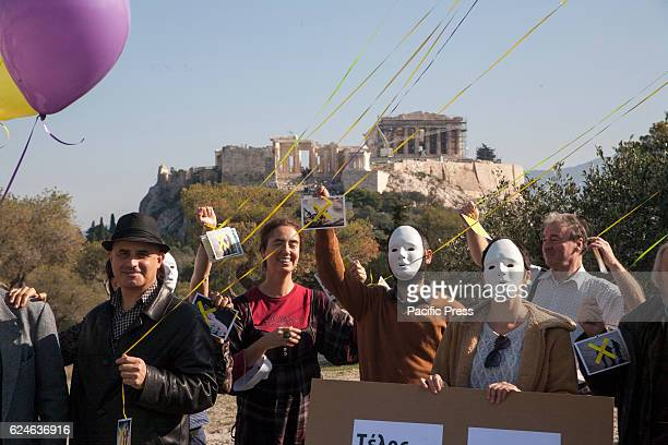 The EBCO demonstrate in the Pnyx Hill in Athens against wars violence and militarisation in general showing their support to Conscientious objectors